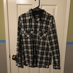 Black Long Sleeve Vans Button Up